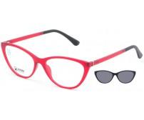 kočičí Brýle Se Slunečním Klipem Point 6092 C1 červené