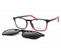 Cooline 132 junior brýle se slunečním klipem červené