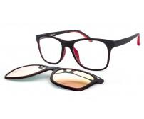 CRH 9-208912 černo červené brýle se zrcadlovým růžovým klipem