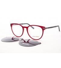 kulaté brýle se slunečním klipem červené MONDO 0578 C2