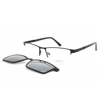 pánské kovové brýle Point 6083 c2 s klipem- černé
