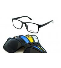Brýle S Více Slunečními Klipy TR2246 C2 Černé + 5 klipů