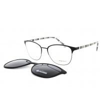 kovové dámské brýle se slunečním klipem Point 6103 c2 černá / bílá