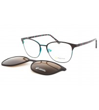 kovové dámské brýle se slunečním klipem Point 6103 c1 hnědá / tyrkysová