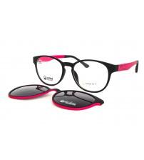 dámské kulaté brýle Point 6104 c3 s klipem růžové