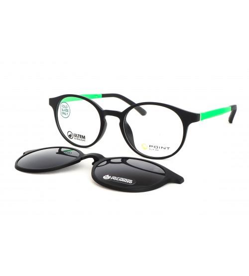 junior kulaté brýle point 6098 JU2 se slunečním klipem zelené
