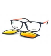 Pánské brýle se zrcadlovým slunečním klipem Ultem 6057 C7 modrá / oranžová