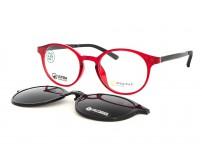 junior kulaté brýle point 6098 JU3 se slunečním klipem červené