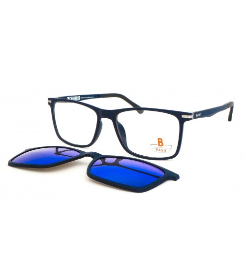 hranaté brýle se slunečním klipem Pass 539-894 s modrým zrcadlem