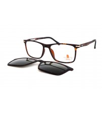 hranaté hnědé brýle se slunečním klipem Pass 539-893 želvovina