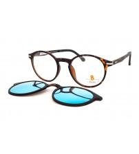kulaté brýle hnědé Pass P540-898 s modrým zrcadlovým klipem