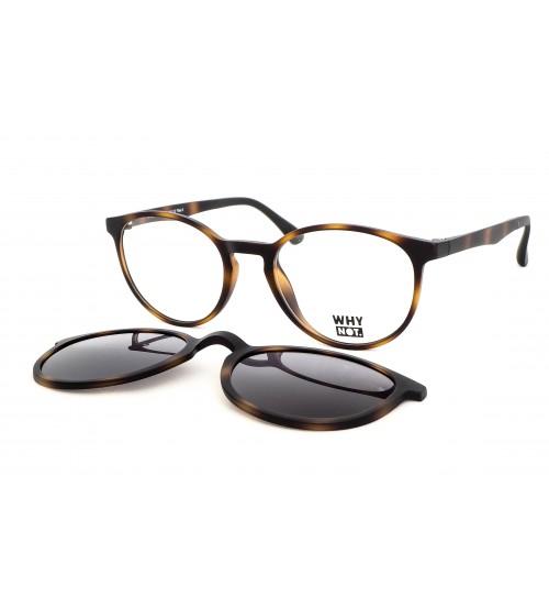 kulaté dioptrické brýle se slunečním klipem KT3978.03 hnědá želvovina